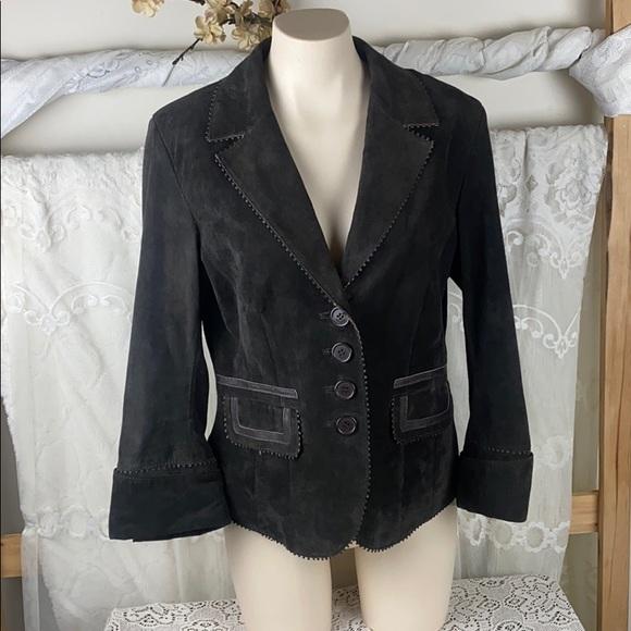 Danier Brown Leather Scalloped Trim Jacket